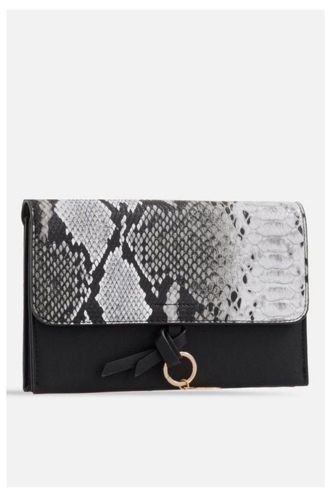 Womens **Faux Snakeskin Foldover Bag By Koko Couture - Black, Black