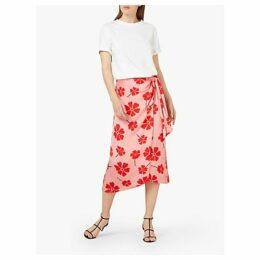 Finery Ida Knot Detail Floral Midi Skirt, Multi