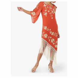 Monsoon Patsy Fringe Dress, Coral