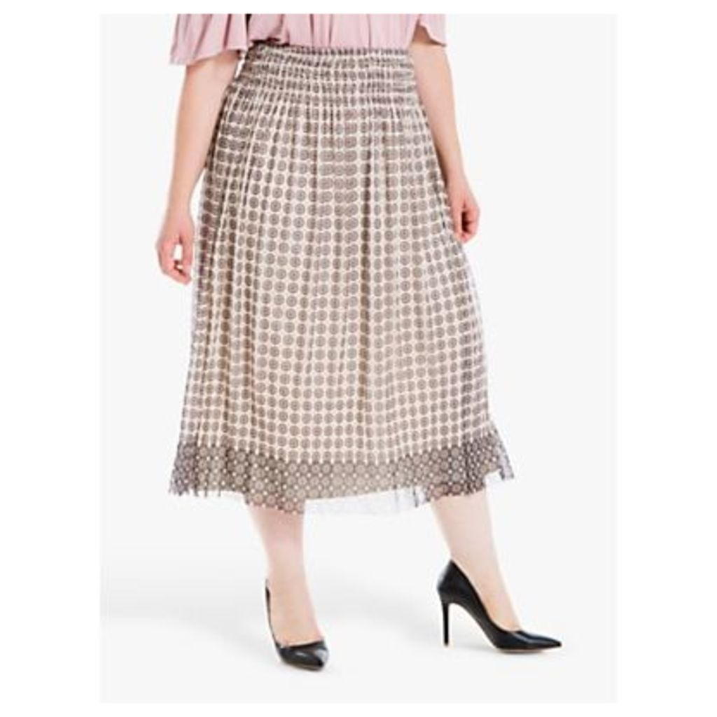 Max Studio + Mesh Circle Print Skirt, Cream/Blush
