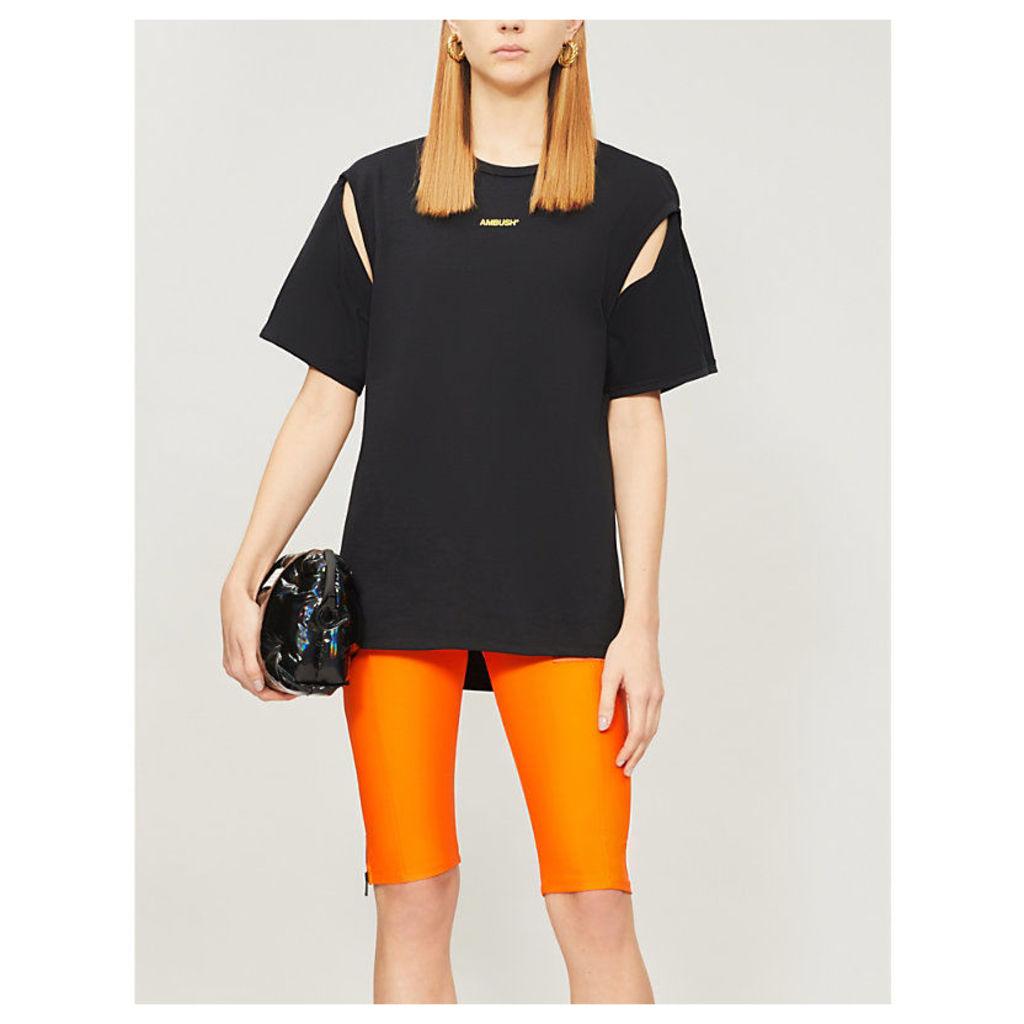 Short-sleeved logo-print cotton-jersey T-shirt