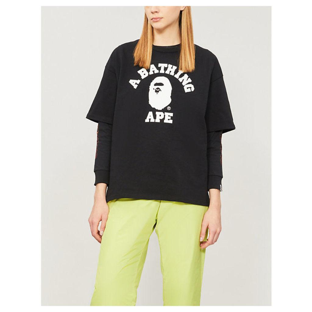 College logo-print cotton-jersey T-shirt