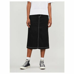 W' Pierce high-waisted midi denim skirt