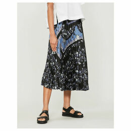 Baroque-print high-waisted pleated crepe skirt