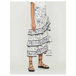 Floral-print ruffled woven skirt