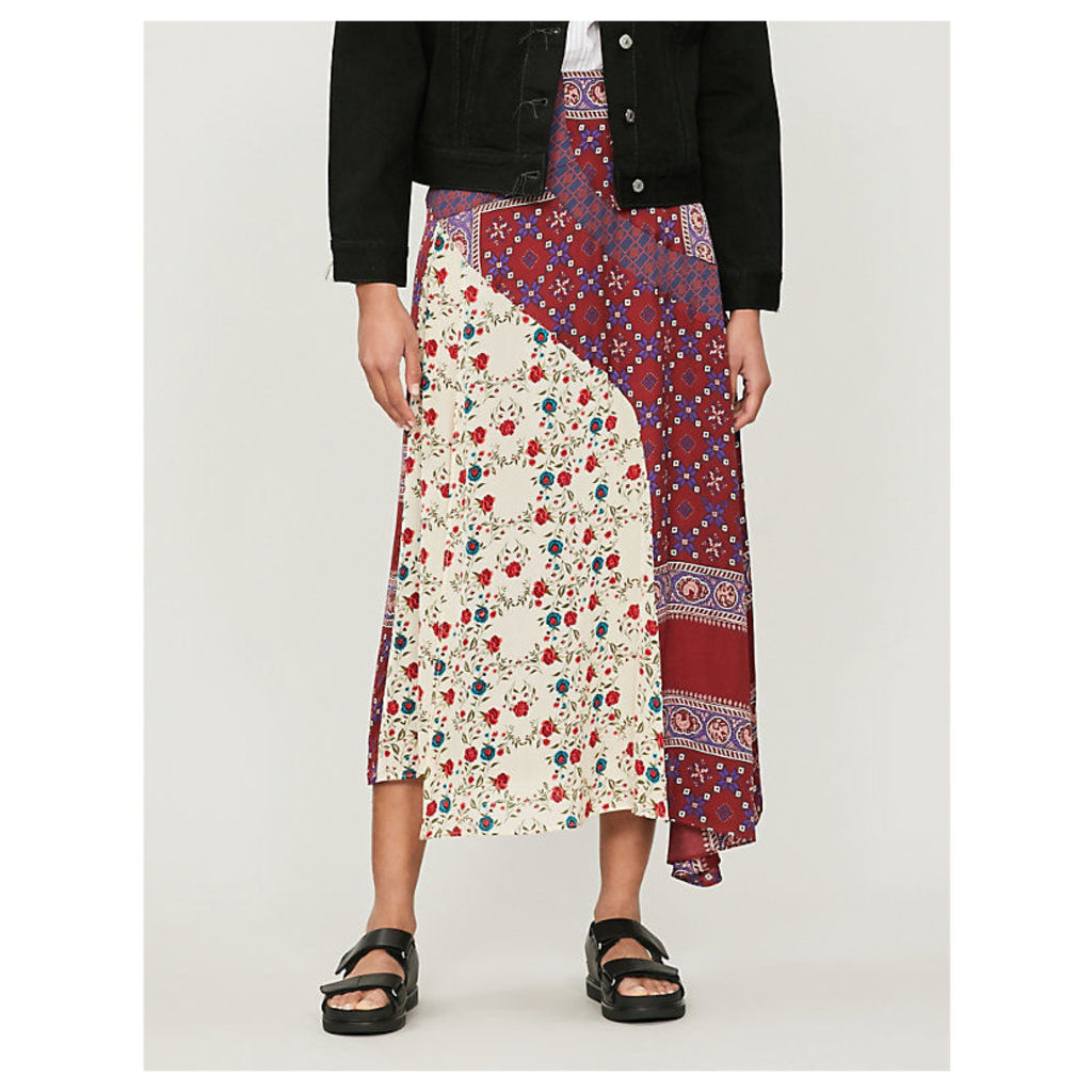 Patchwork high-waisted satin skirt