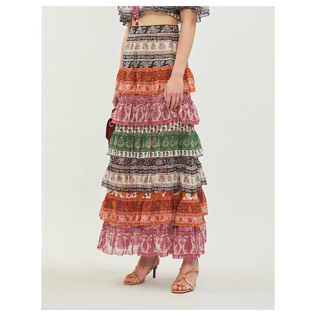 Amari cotton-and-silk blend crepe midi skirt