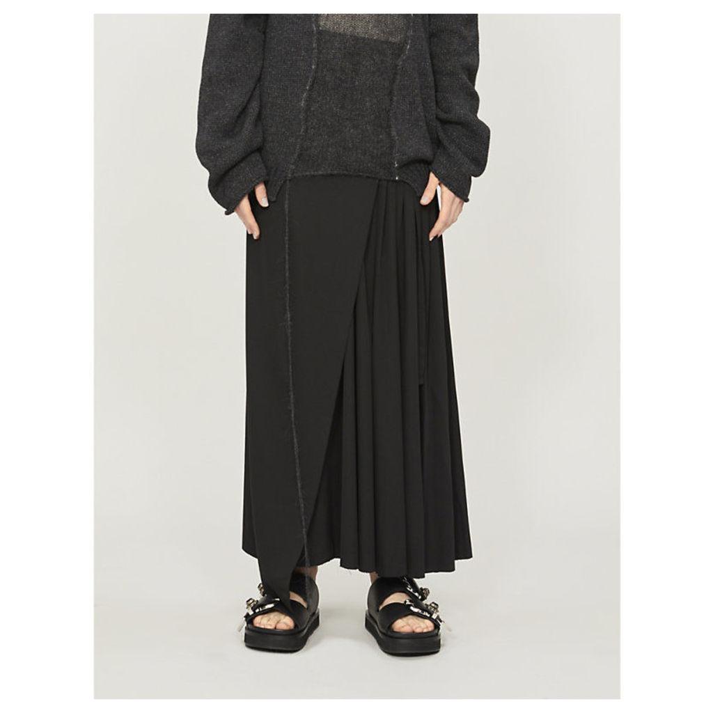 Asymmetric pleated wool wrap skirt