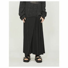 Asymmetric pleated wool wrap skirt