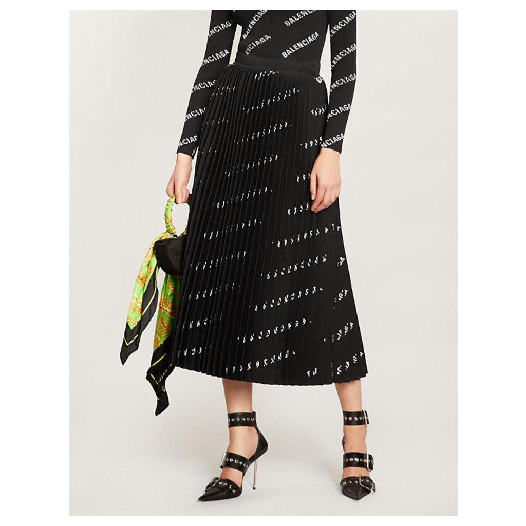 Logo-print pleated crepe midi skirt