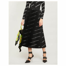 Logo-print pleated crepe midi skirt