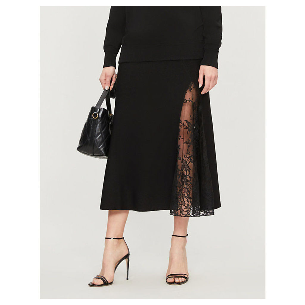 High-waist floral-lace and crepe midi skirt