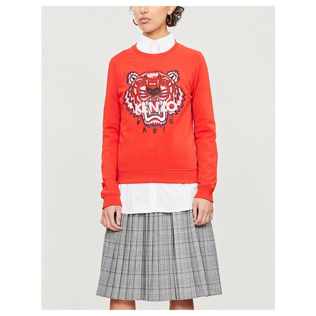 Tiger logo-print cotton-jersey sweatshirt