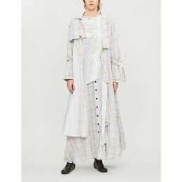 Checked striped cotton-blend trench coat