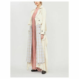 Checked deconstructed cotton-blend trench coat