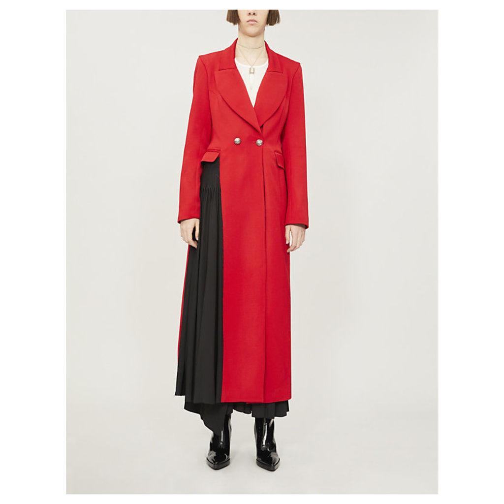 Asymmetric pleated-panel wool coat