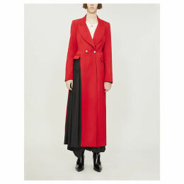 Asymmetric pleated-panel wool coat