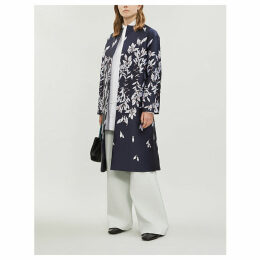 Floral-pattern woven coat