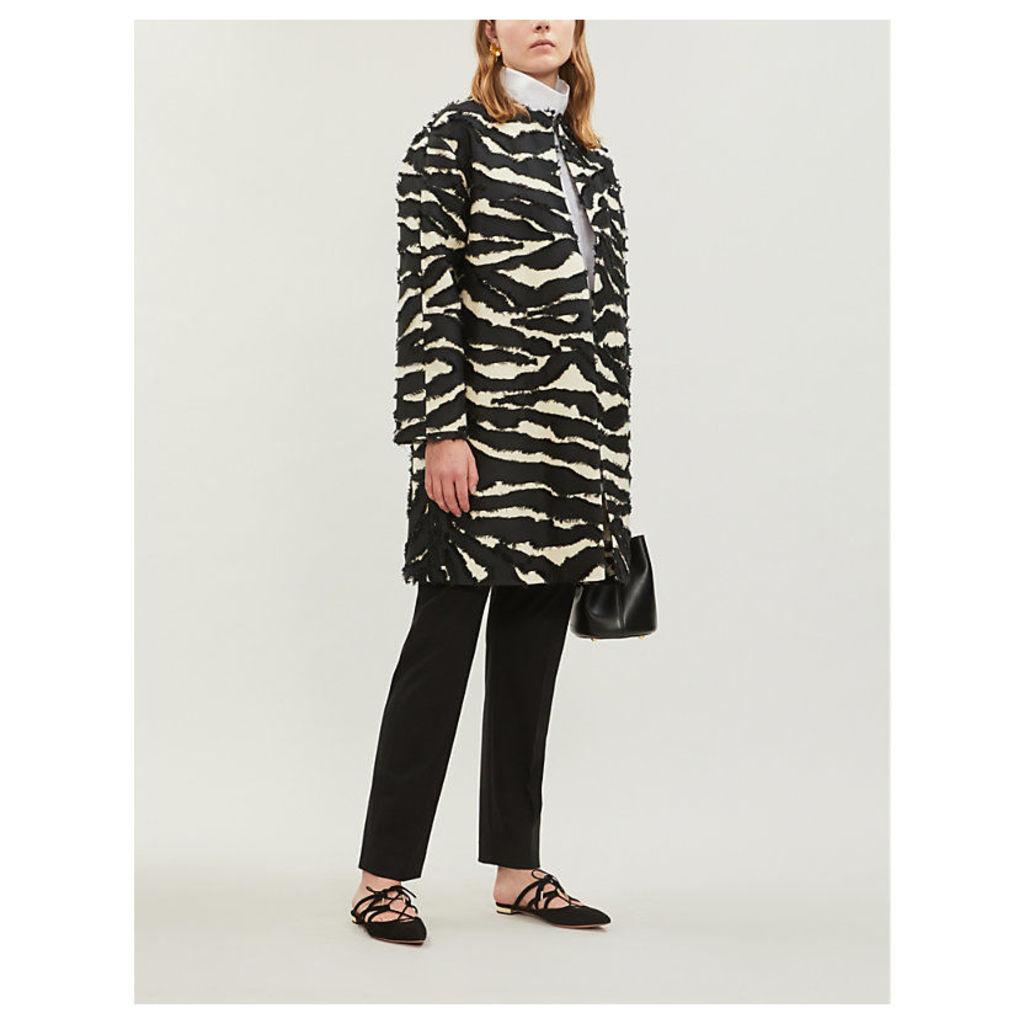 Zebra-striped woven coat