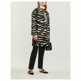Zebra-striped woven coat