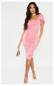 Bubblegum Pink Puff Sleeve Ruched Midi Dress, Pink