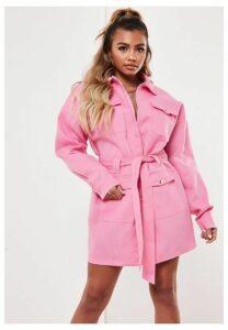 Pink Oversized Utility Shirt Dress, Pink