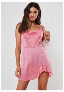 Petite Pink Satin Cowl Neck Mini Dress, Pink