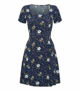 Blue Vanilla Navy Floral Square Neck Swing Dress New Look