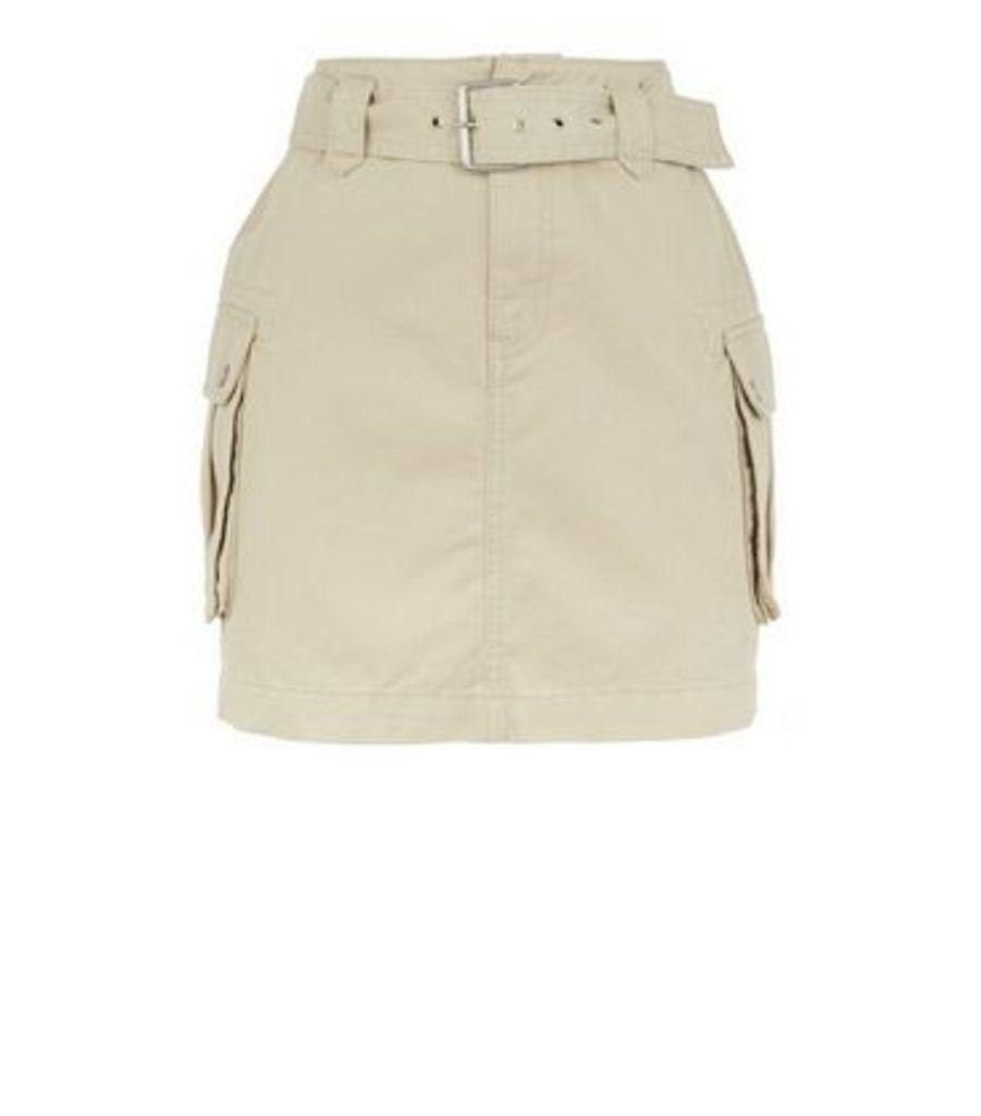 Stone Utility Pocket Belted Denim Skirt New Look