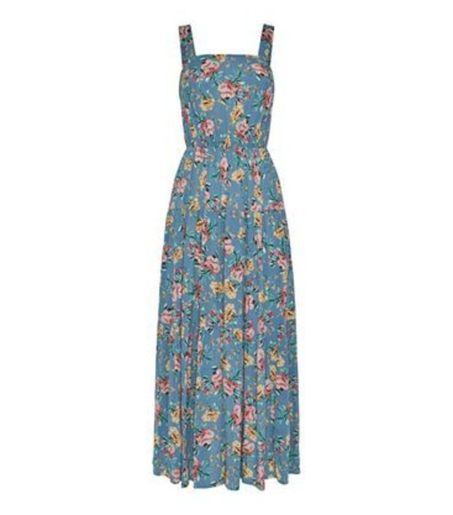 Blue Floral Tiered Cheesecloth Midi Dress New Look
