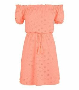 Coral Broderie Bardot Beach Dress New Look