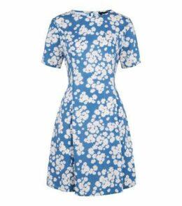 Blue Daisy Print Smock Dress New Look