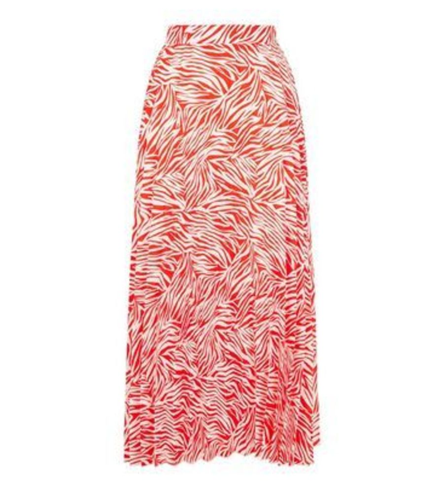 Red Zebra Print Pleated Midi Skirt New Look