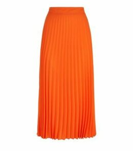 Bright Orange Neon Pleated Midi Skirt New Look