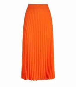 Bright Orange Neon Pleated Midi Skirt New Look