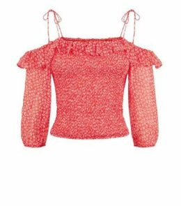 Red Ditsy Floral Shirred Bardot Top New Look