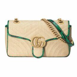 Online Exclusive GG Marmont raffia small shoulder bag