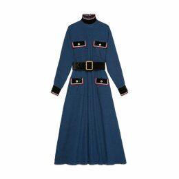 Cotton dress with velvet details