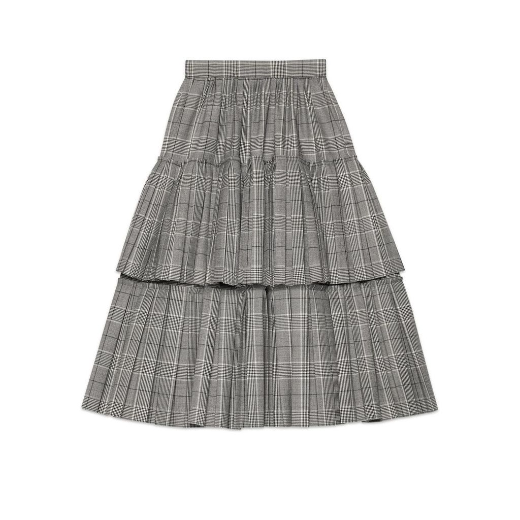 Prince of Wales check wool skirt