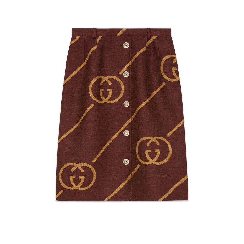 Reversible wool skirt with Interlocking G