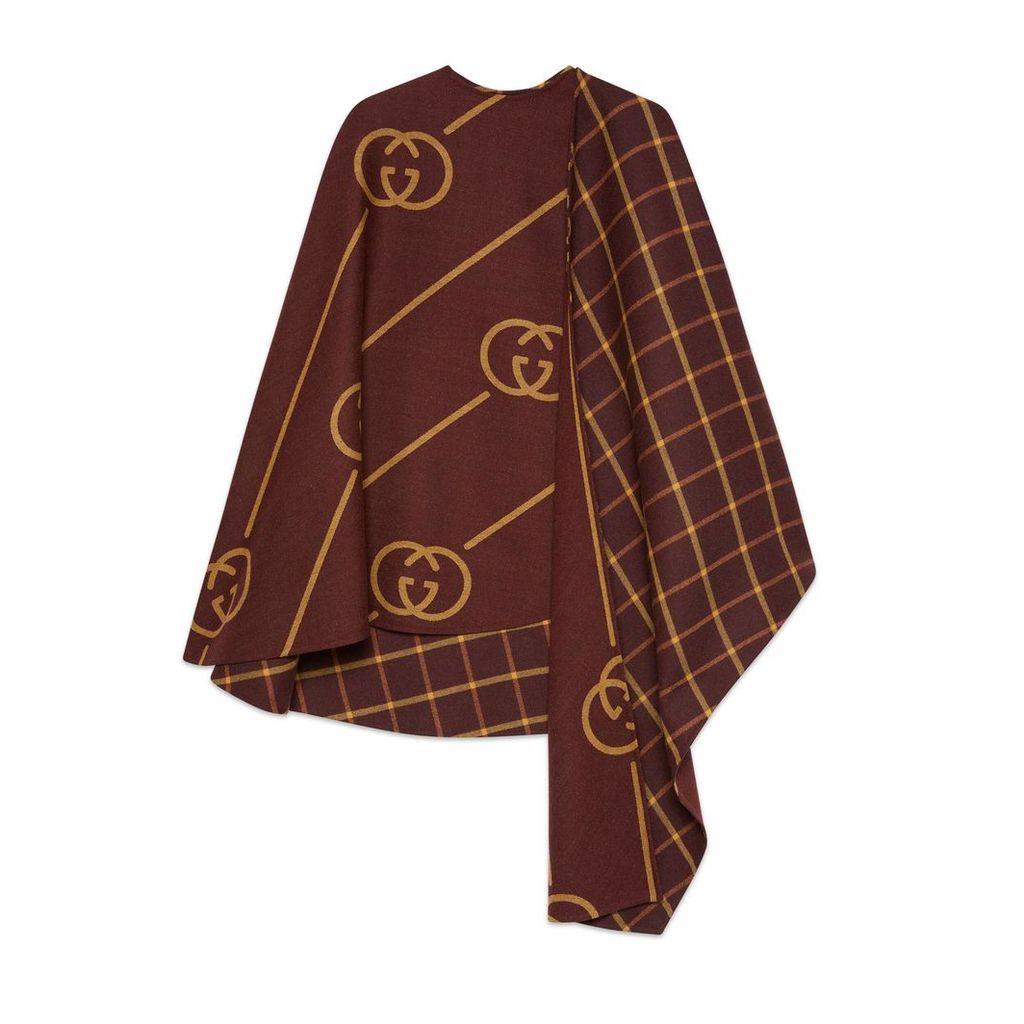 Wool cape coat with Interlocking G
