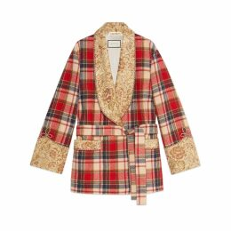 Check wool jacket with embroidery