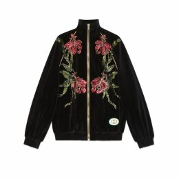Chenille jacket with floral patches