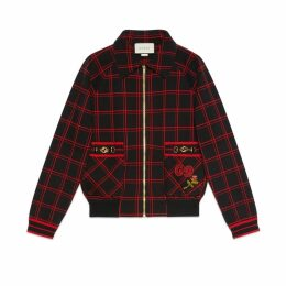 Check wool bomber with patches