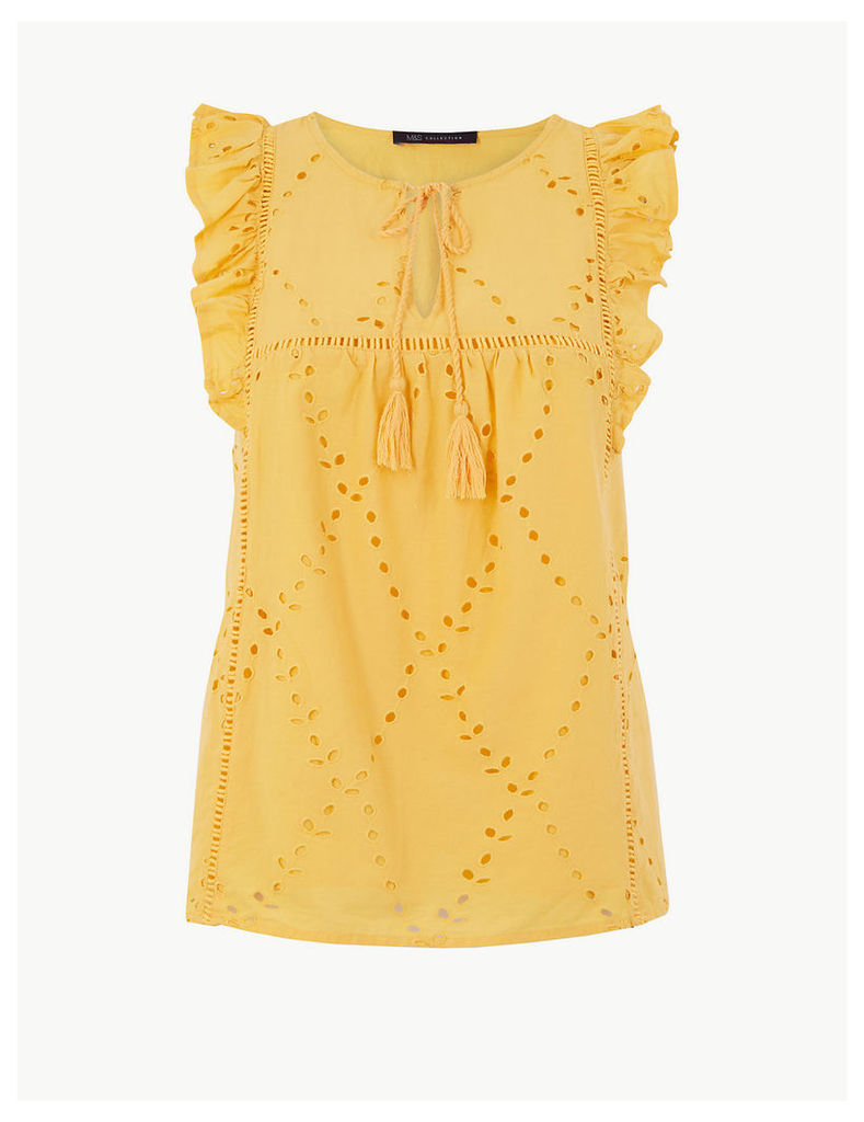 M&S Collection Pure Cotton Embroidered Shell Top