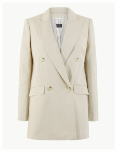 M&S Collection Linen Rich Double Breasted Longline Blazer