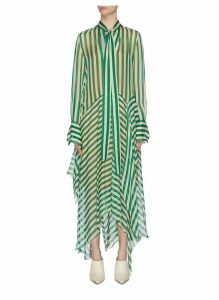 'Dikon' sash tie neck panelled stripe silk dress