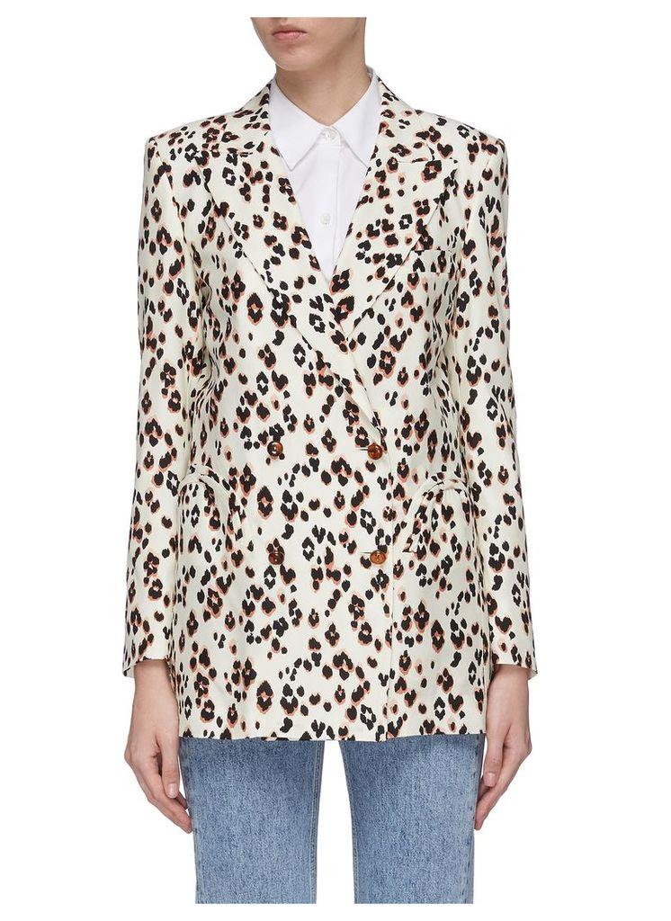 'Manitou' peaked lapel leopard print silk everyday blazer