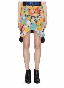 Wave hem poppy field print scuba skirt