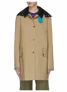 x Jim Lambie 'Yoko' colourblock border hooded trench coat